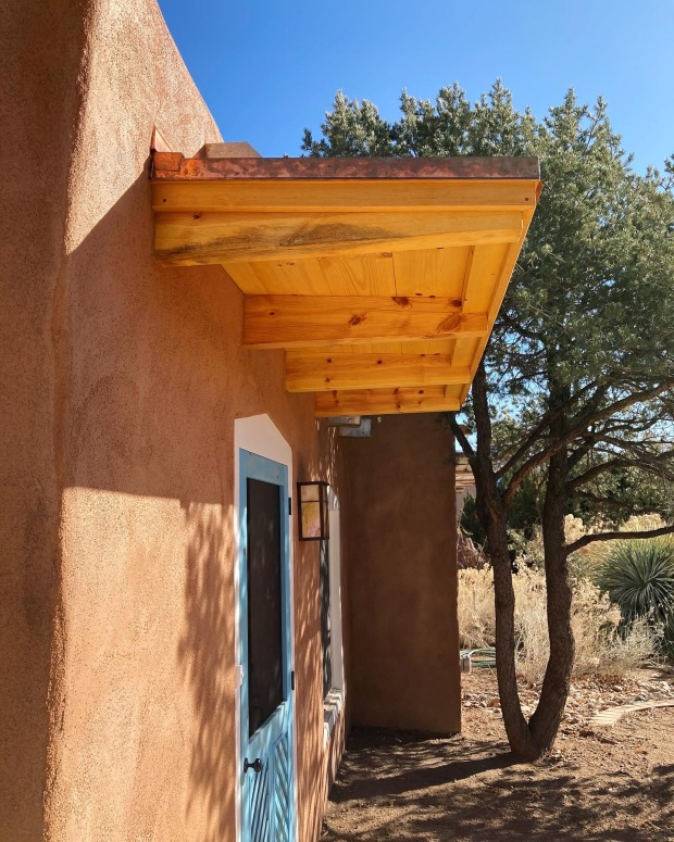 Adobe House Remodel Copper Roofed Overhang